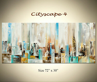 TURQUOISE LARGE ABSTRACT Painting Modern Art Cityscape Art Canvas Art