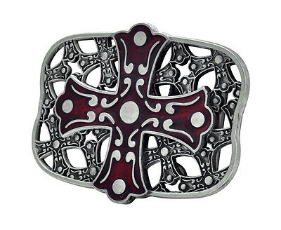 RED Celtic Iron Cross Maltese Belt Buckle Painted Metal Cool Gothic Unique New