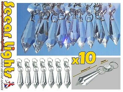 12 Chandelier Glass Drops Light Crystals Beads Torpedo Droplets Prisms Wedding