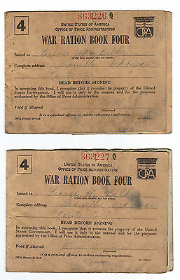 Lot of 2 - WWII Ration Book 4 - Consecutive Numbers! - w/lots of stamps - Ark.