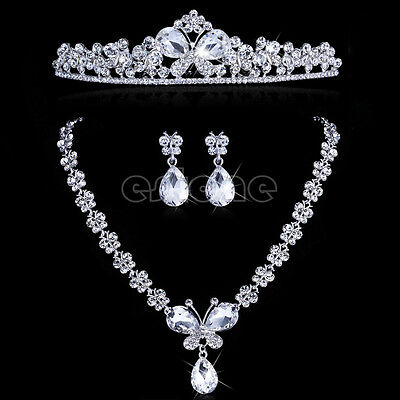 Bridal Crystal Butterfly Diamante Necklace Earrings Set Wedding Prom Jewelry