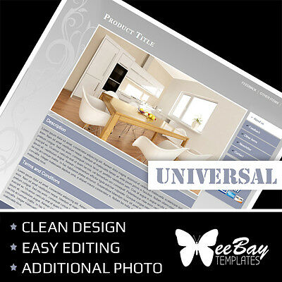 Professional eBay Auction Listing Template 2a Universal New Design Custom HTML