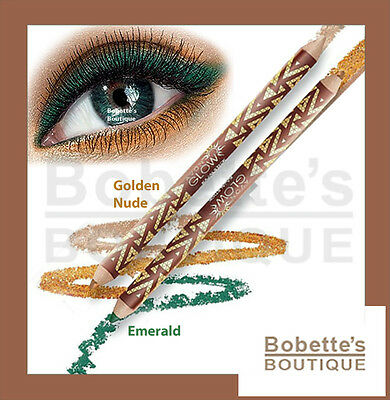 Crayon Yeux Eye Liner Kajal Double Embout AVON GLOW Or , Sable, Émeraude