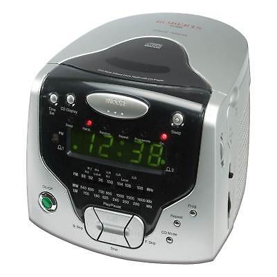 Roberts CD Cube CR9986 Clock Radio with CD Player & Headphone Output in Silver