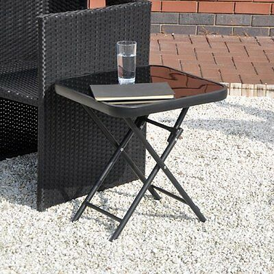 Glass Top Small Folding Side End Table Stool Drinks Garden Home Furniture Patio