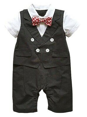 Baby Page Boy Christening Formal Wedding Tuxedo 1pc Outfit With Bow Tie 3-18 M