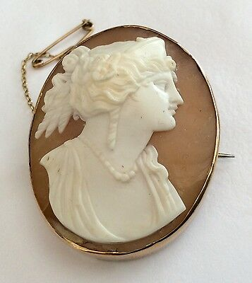 Superb Old Antique 9ct Gold Large Shell Cameo Brooch Stunning 11.7 gms
