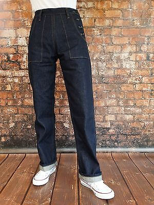 Marlene Vintage Denim Jeans WAC 30er-40er Jahre Style Rockabilly Hot Rod V8 Army