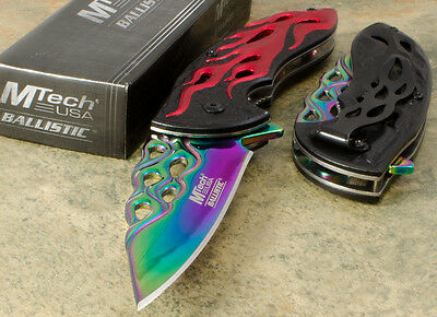 MTech Spring Assisted Open Folding Pocket knife Rainbow Blade Red Flame Handle