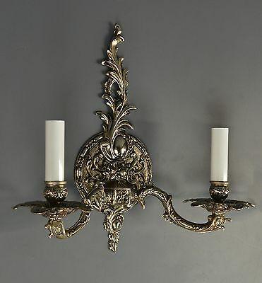 PAIR French Rococo Styled Wall Lights 1950 Vintage Antique Ornate Nickel Sconces