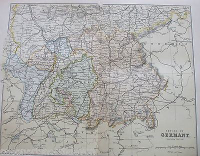 Antique Print C1880S Map Of Empire Of Germany Fold Out Colour Southern Portion
