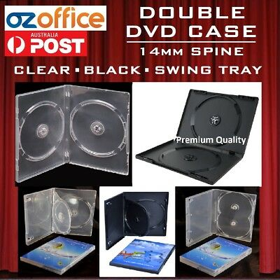 BRAND NEW 14mm DOUBLE 2 DVD Case Blu Ray Black Clear for Movie - Holds 2 CD/DVD