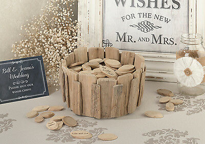 Rustic Wood Basket W/chips - Alternative Guestbook-With Free Wood Chips!!