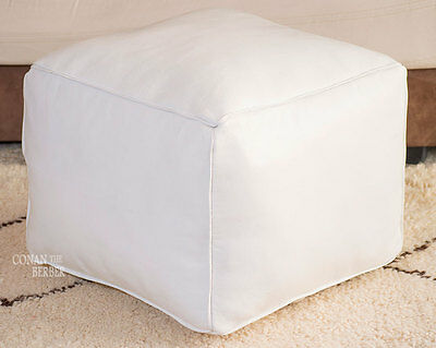 Square Handmade Moroccan Pouf Genuine Leather Ottoman Footstool Hassock White