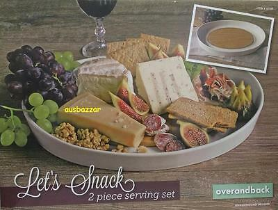New Over & Back Let's Snack 2 Piece Serving Set Porcelain Platter & Bamboo Board