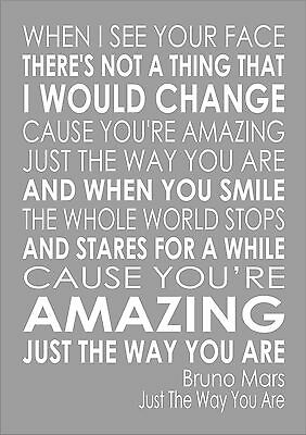 JUST THE WAY You Are - Bruno Mars Wall Art Typography Song Lyrics Lyric  Verse