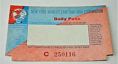 2 1964 1965 New York Worlds Fair Admissions Daily Pass Entrance Ticket NOS New