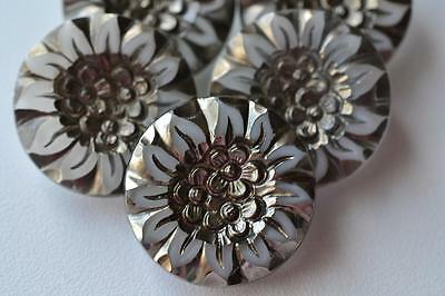 """892 - GORGEOUS SET (5) OF VINTAGE CZECH OLD GLASS 7/8"""" SILVER WHITE BUTTONS"""