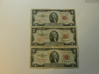 Series 1953 A Red Seal 2 Dollar Bill 1928 G Paper Money United States