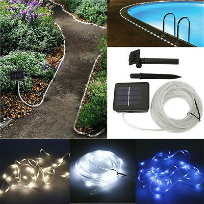 Solar Rope Light 5M 50 LED Tube Garden Outdoor Fairy String Light Yard Path Lamp