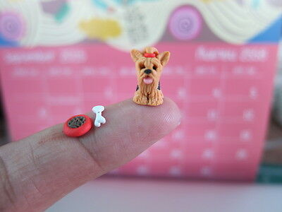 Adorable Yorkshire Terrier dogs puppy miniature Handmade Collectible  figurine