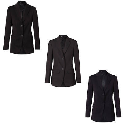 Womens Ladies Poly/viscose Stretch Mid Length Jacket Blazer Suit Work Black Navy