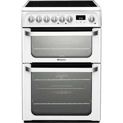 Hotpoint HUE61PS 60cm Electric Ceramic Programmable Double Oven Cooker in White