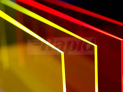 Perspex Cast Acrylic Fluorescent Colour Sheets 600mm x 400mm, 5mm Thickness