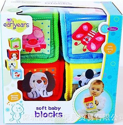 Earlyears Baby Kid Child Rattle Crinkle Squeaky Cloth Blocks Mix Match Stack Toy