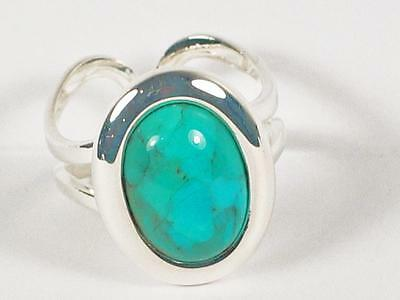Silver plated oval Turquoise Cabochon ring, adjustable.