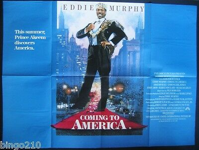 Coming To America Original 1988 Cinema  Quad Poster Eddie Murphy John Landis