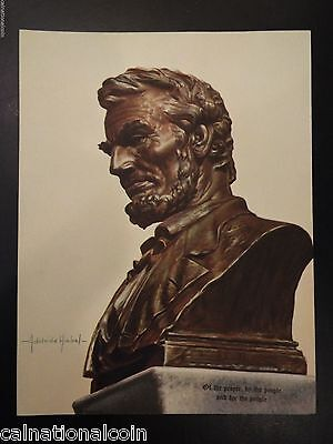 Abraham Lincoln Bust Vintage Lithograph