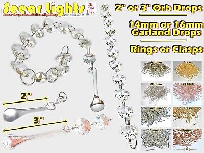 Chandelier Cut Glass Crystals Drops Orbs Light Parts Antique Quality Droplets Bn