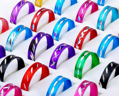 100pc Fashion Wholesale Jewelry lots Bulk Mixed Color Style Aluminum Rings COOL
