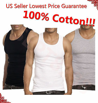 MENS New LOT Of 6 3 Tank Top 100% Cotton A-Shirt Wife Beater Ribbed Undershirt