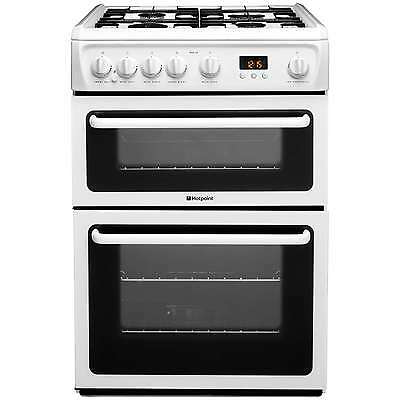 Hotpoint HAG60P 60cm Double Oven Gas Cooker with 4 Burners and Timer in White