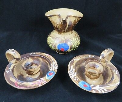 Vintage Candle Stick Holders & Pitcher Vase - Art Pottery - Italy - Hand Painted
