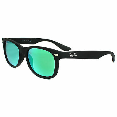 Ray-Ban Junior Sunglasses 9052 100S3R Matt Black Green Flash Mirror