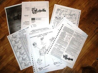 "Atlas Craftsman 101.21400 6"" Inch Lathe 18 Page manual & instructions Threading"