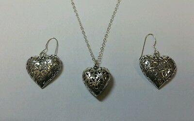 Matching Pair Of Designer Vintage Heart Earrings And Necklace