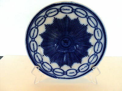 """Antique English Flow Blue 9"""" """"chain Of States"""" Cabinet Plate"""