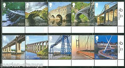 Great Britain 2015 Bridges Set Of Ten Stamps Mint Never Hinged