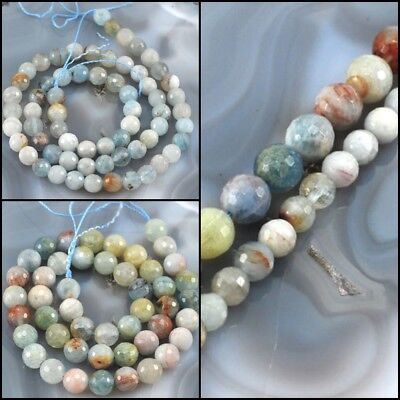 "Wholesale Natural Multi-color Aquamarine Faceted Round Spacer Beads 15"" 6mm 8mm"