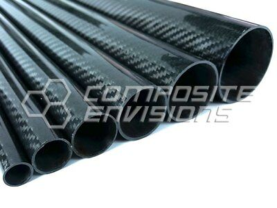 "Roll Wrapped Carbon Fiber Tube Twill Weave Gloss Finish - 1.5"" OD - 48"" long"