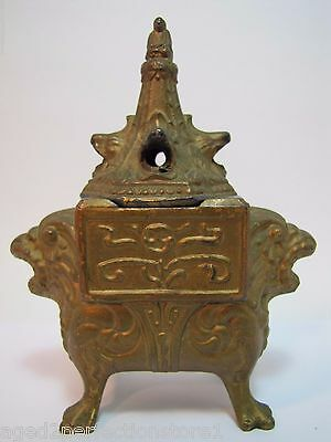 Antique Vantines Figural Incense Burner Buddha Dragon Lion Head Claw Feet ornate