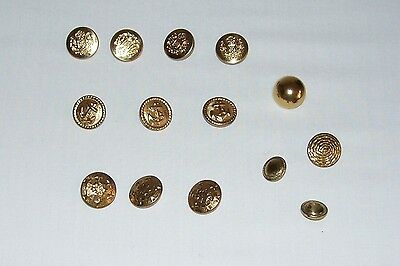 """Lot of 14 Vintage Metal Shank Buttons---Size 1/2"""" & 3/8"""""""