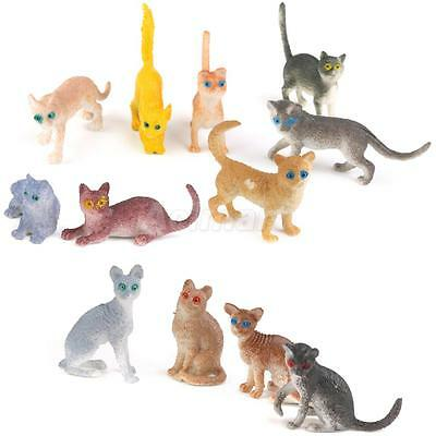 12x Colorful Plastic Animals Cute Cat Figures Toy Models Kids Favor Gifts