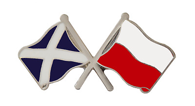 Poland Flag & Scotland Flag Friendship Courtesy Pin Badge - T277