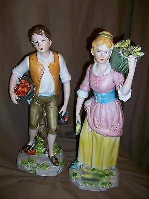 *damaged* Vintage Homco Farmer Boy & Girl Figures French Provencial