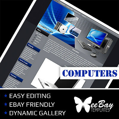 Professional eBay Auction Listing Template 23 COMPUTERS Custom HTML New Design